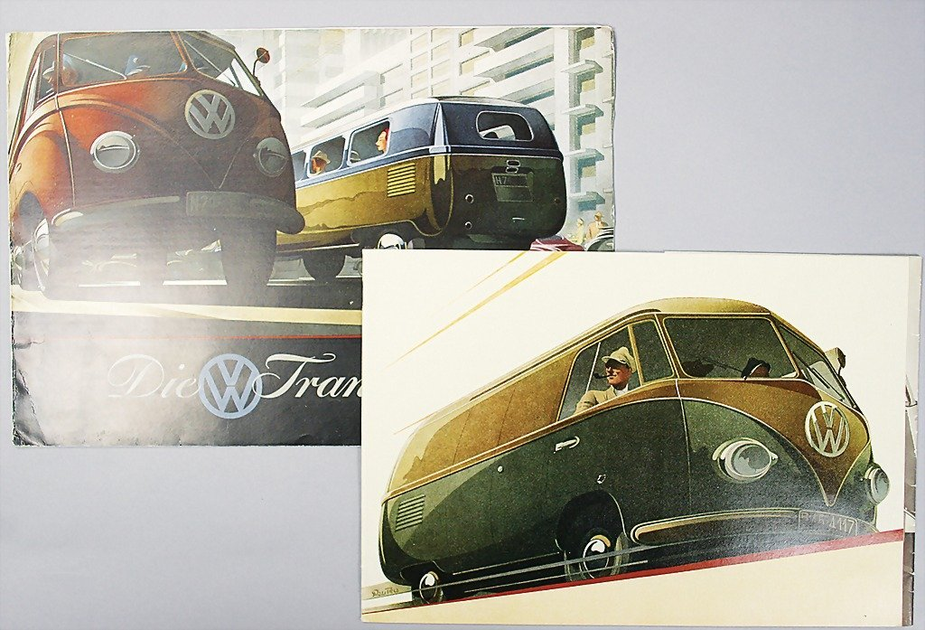 1406: VW 2 early transport brochures, 1x folder, 6 page