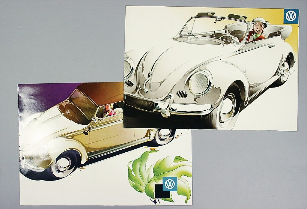 1414: VW 2x brochure, VW Beetle convertible, mid '50s,
