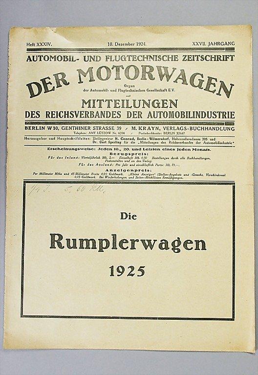 """1418: RUMPLER brochure, the Rumpler car 1925 """"Technisch"""