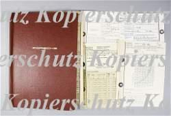 1510: PORSCHE/ERICH STOTZ wine-red portfolio with Porsc