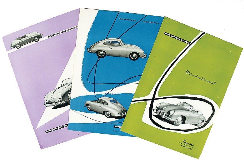 3008: PORSCHE mixed lot of 3 flyers, No. 1: English bro