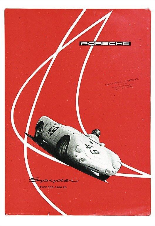 3009: PORSCHE c. 1955, flyer English Porsche Spyder, ty
