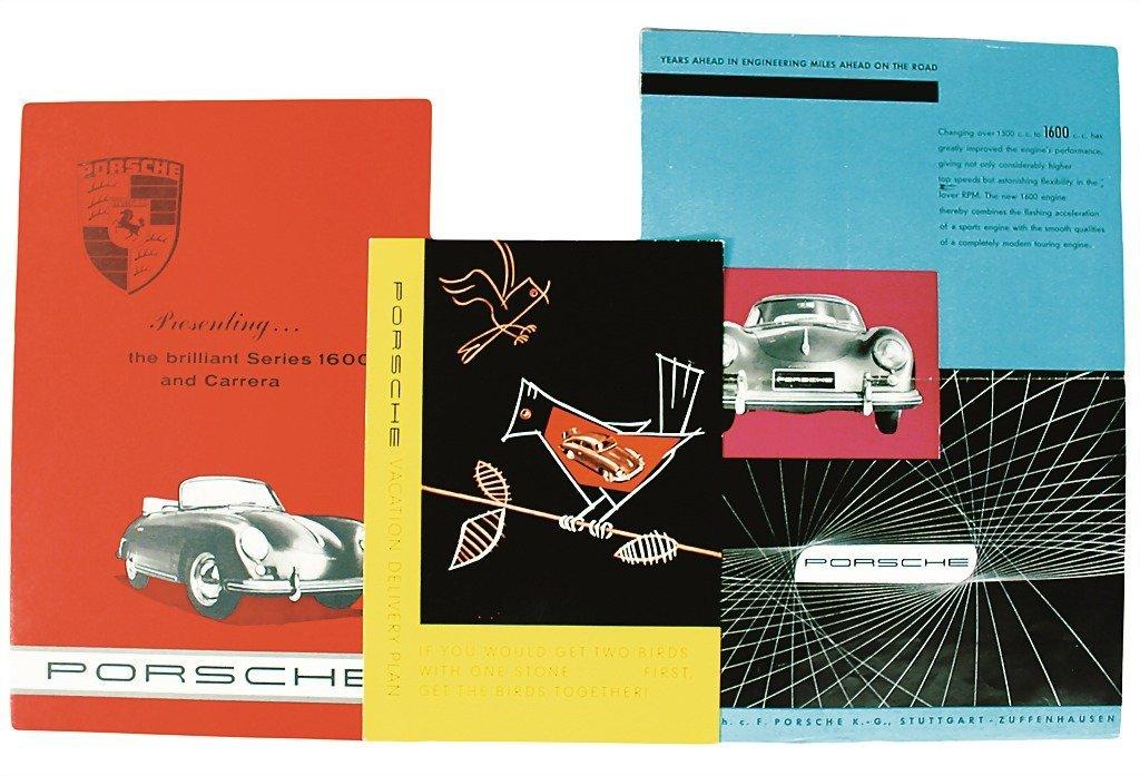 """3018: PORSCHE mixed lot 4 pieces, No. 1: folder """"""""Porsc"""