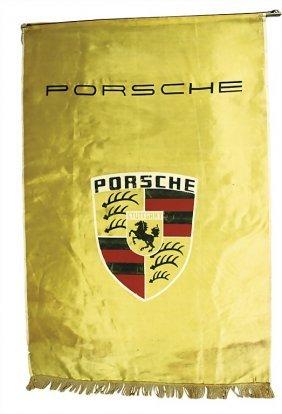 PORSCHE Mid '50s, Golden Flag Made Of Silk For Sa