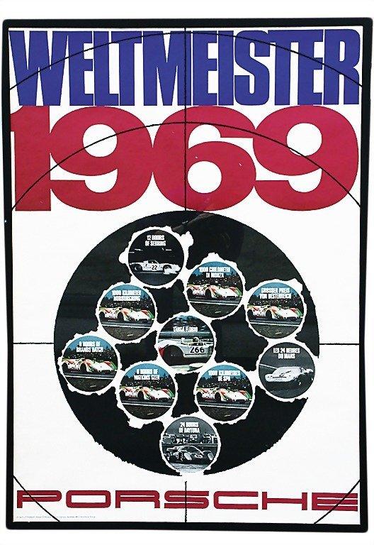 "3073: PORSCHE racing poster ""Weltmeister"" 1969, study S"
