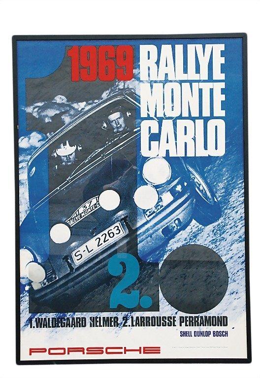 """3074: PORSCHE racing poster """"Rallye Monte Carlo"""" 1969,"""