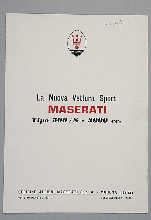 """1805: MASERATI 1956, 4 pages folder """"La Nuova Vettura S"""