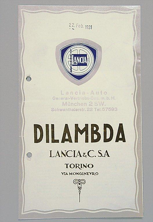 1806: LANCIA 1930, folder with 6 pages Lancia Dilambda,