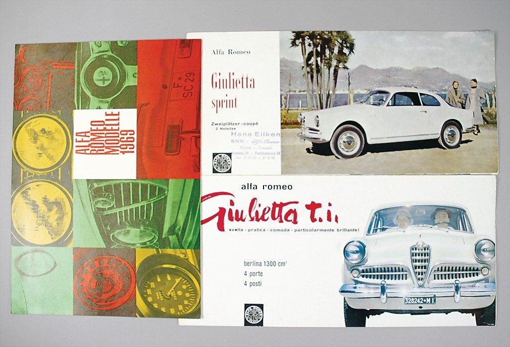1816: ALFA ROMEO mixed lot of 3 sales brochures, No. 1s