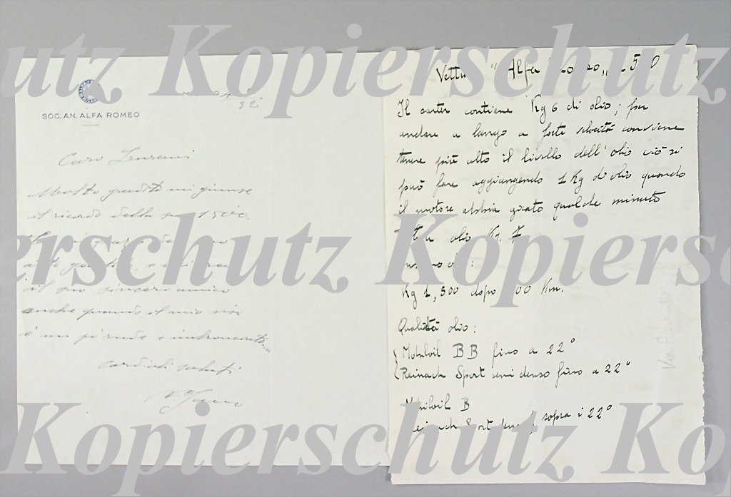 1873: ALFA-ROMEO/ JANO writing by Jano to Lurani, dated
