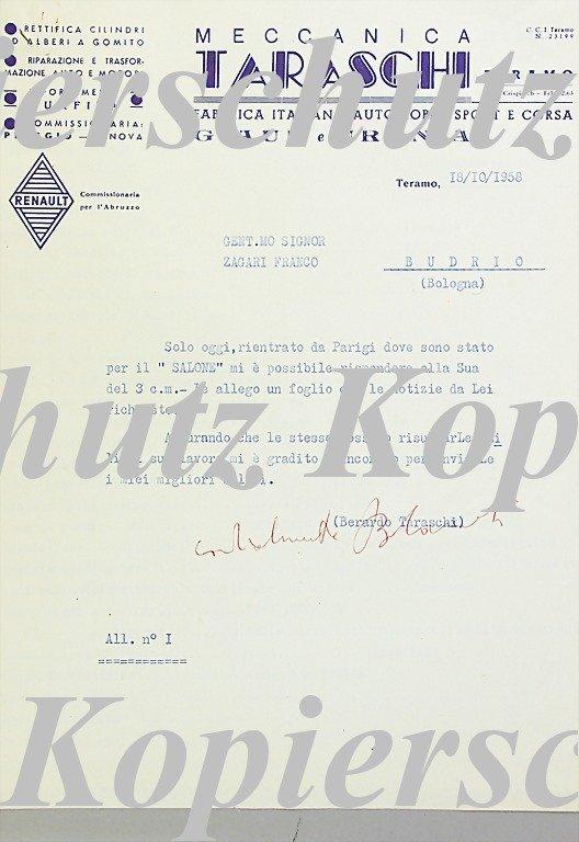 1885: MECCANICA TARASCHI/ ZAGARI FRANCO original writin