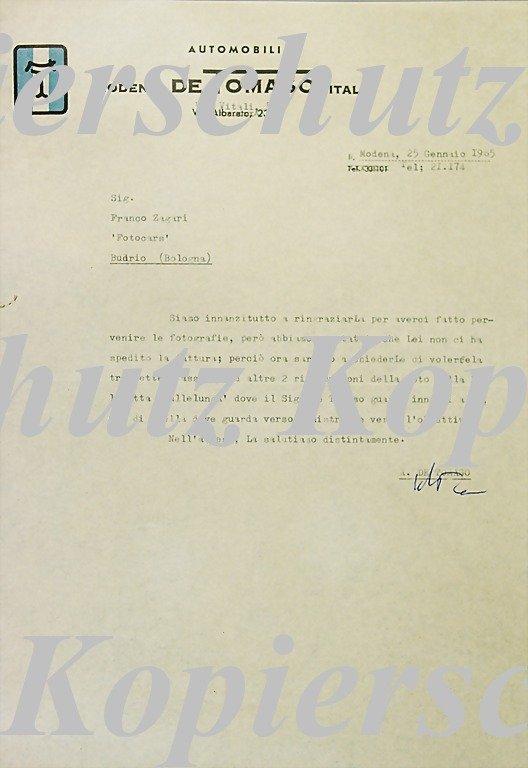 1886: DE TOMASO original writing to Franco Zagari, on o