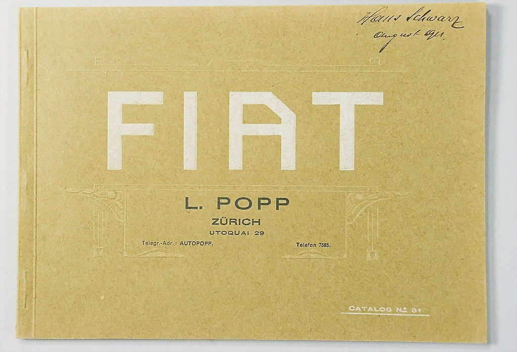 1894: Fiat, in German text from 1911, model program and