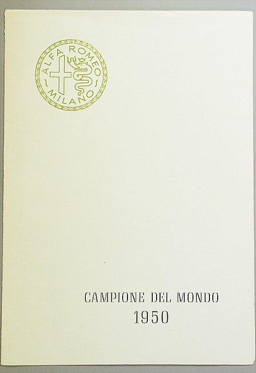 1896: ALFA ROMEO folder, Champione del Mondo 1950, 8 pa