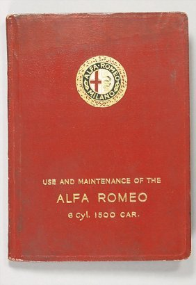 ALFA-ROMEO Operating Instructions, 6 C 1500, 1928