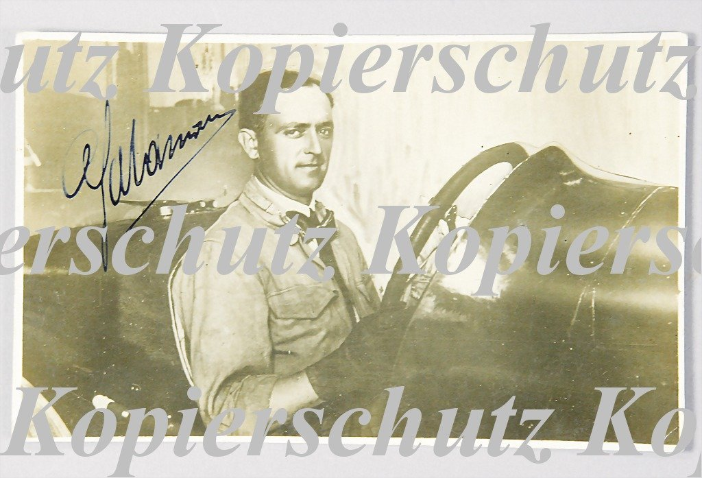 1950: signed photo postcard, Carlo Salamano on Fiat 805