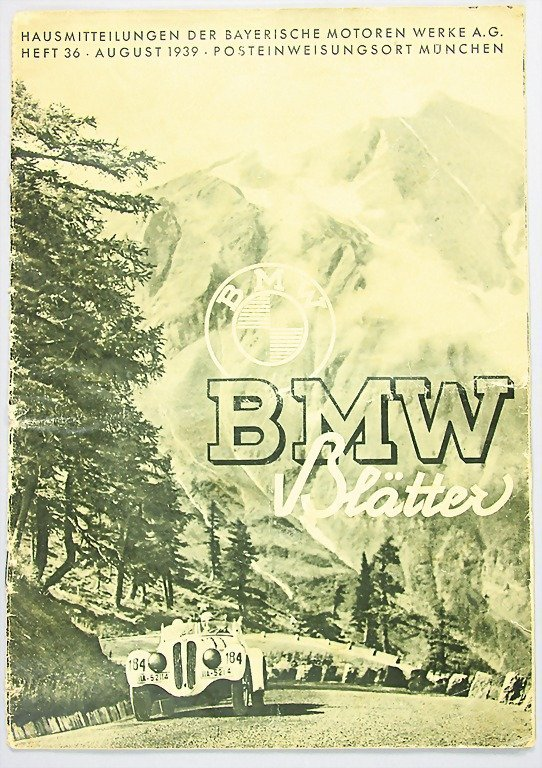 """12: magazine """"BMW Blätter"""", year 1939, issue No. 36, co"""