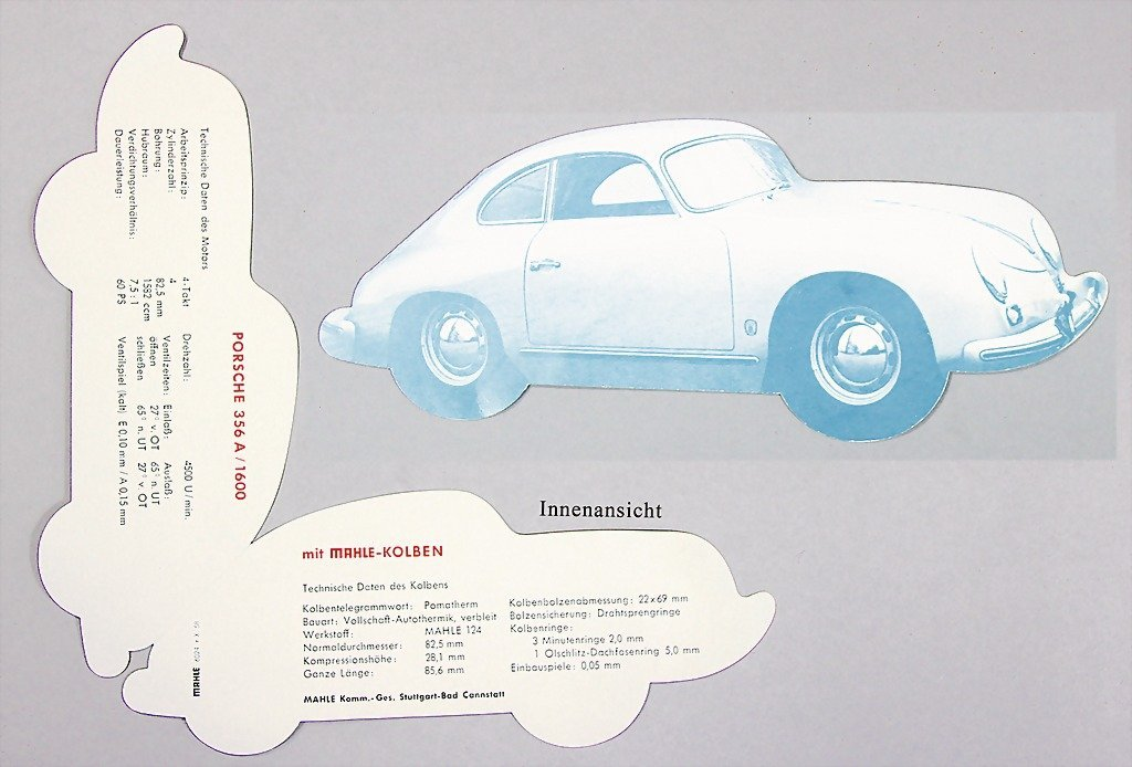 1503: PORSCHE/ MAHLE, folder shaped like a Porsche 356