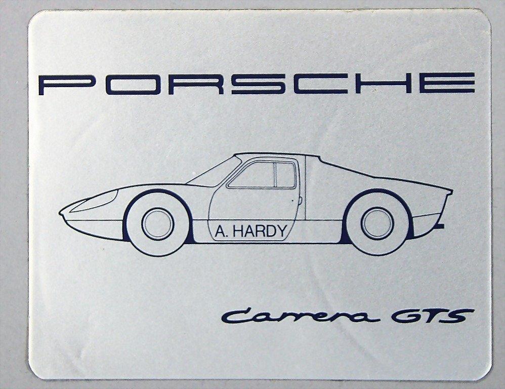 1507: sticker, Porsche Carrera GTS driver A. Hardy, (10