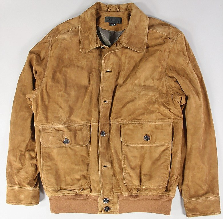 "1513: PORSCHE, suede jacket, size XL, inside sewed in """