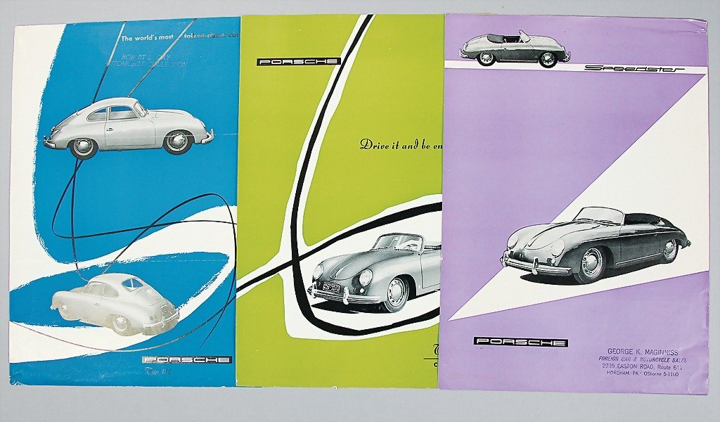 1515: PORSCHE, mixed lot in English, 3 flyers, printed