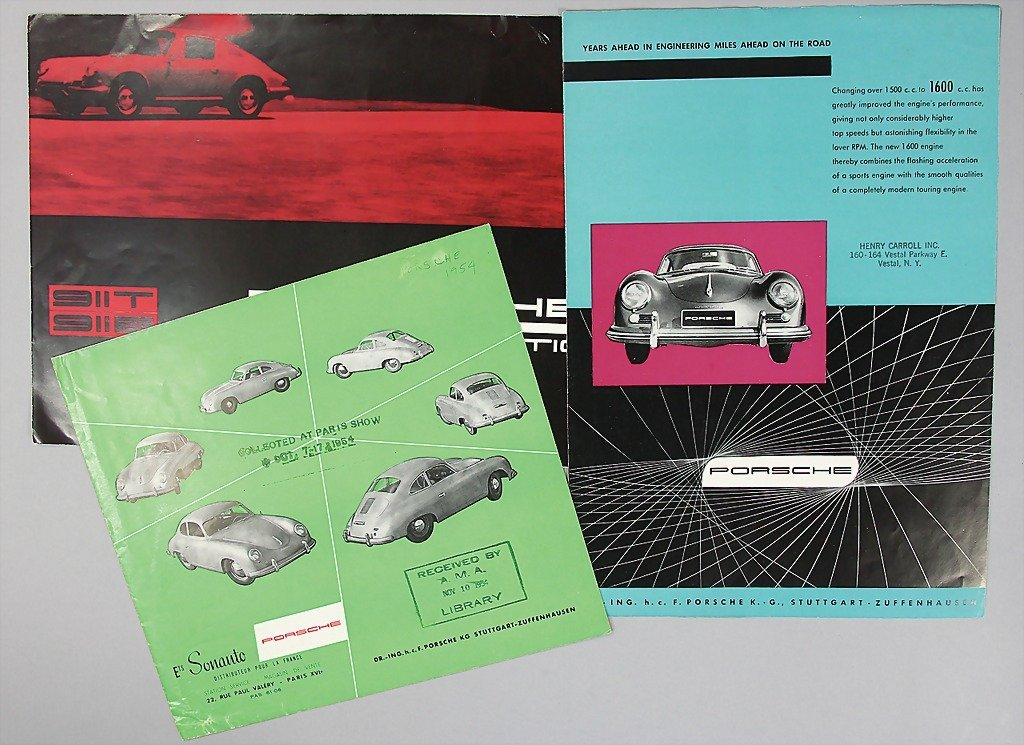 1516: PORSCHE, mixed lot of 3 sales brochures, 1x folde