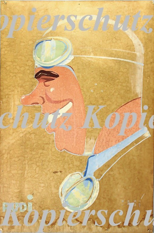 5024: RUDOLF CARACCIOLA, caricature, signed, dated PERI