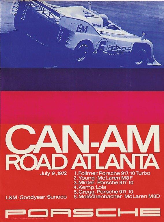 "2101: PORSCHE, racing poster ""Can-Am Road Atlanta 1972"""