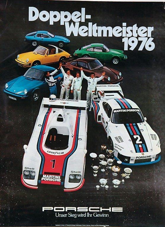 "2104: PORSCHE, poster ""Doppel-Weltmeister 1976"", (101 x"