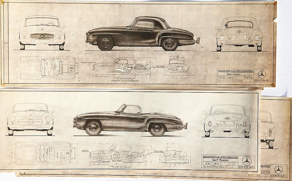 2110: MERCEDES-BENZ, mixed lot of 4 engineering drawing