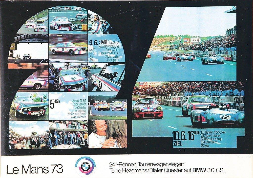 2112: BMW, 1973, racing poster, BMW motor sport Le Mans
