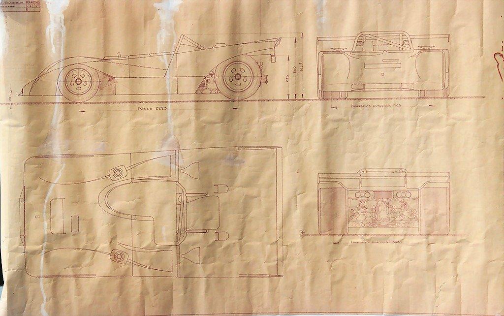 2114: FERRARI, 1972, original blueprint, Ferrari car bo