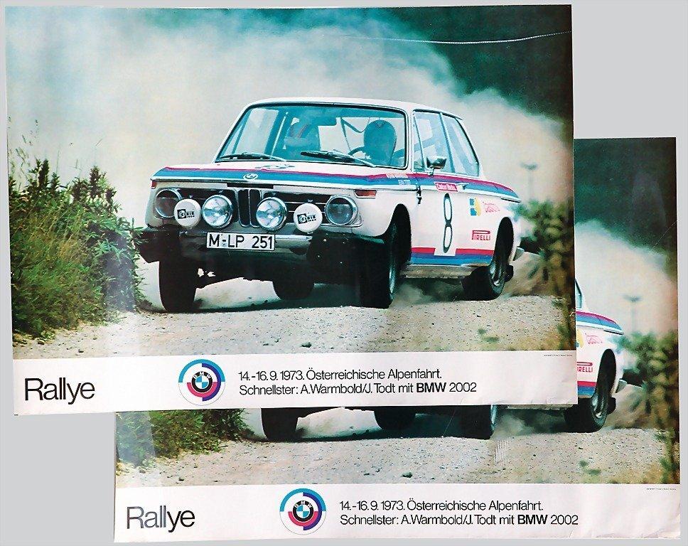2115: BMW, racing poster, motor sport, 2 pieces, identi