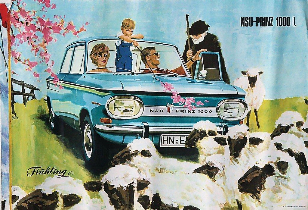 2117: NSU, 4 advertising posters, NSU prince 1000 l, ve