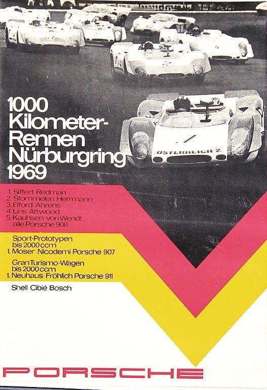 "2120: PORSCHE, racing poster ""1000 km Rennen Nürburgrin"