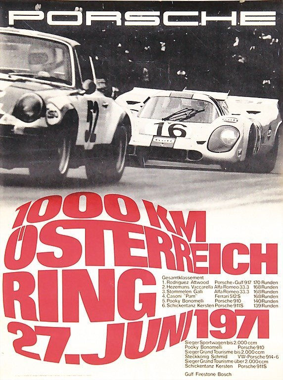 """2124: PORSCHE, racing poster """"1000 km Österreichring 19"""