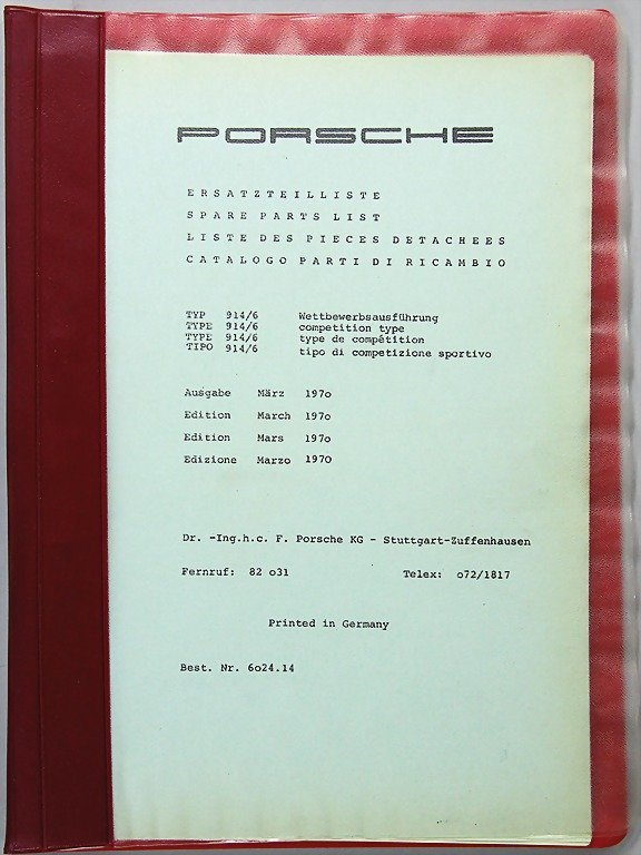 PORSCHE, edition March 1970, list of replacement parts