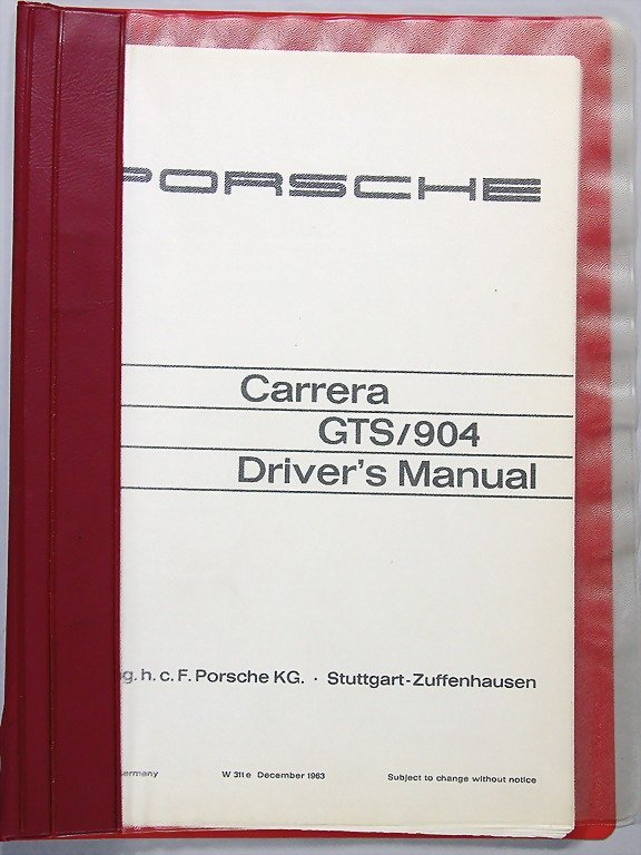 PORSCHE, Driver's manual Carrera GTS/ 904, Dec 1963, En