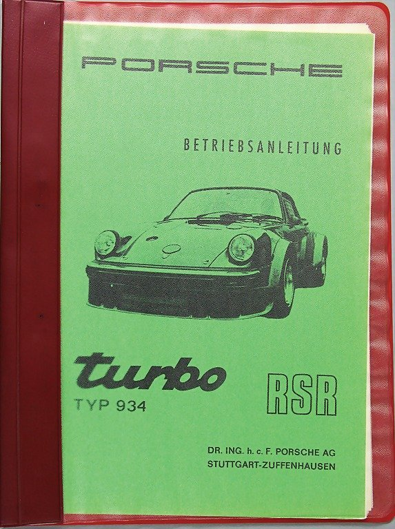 PORSCHE, January 1976, operating instructions  type 934