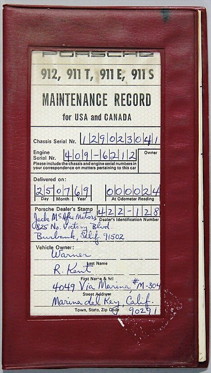PORSCHE, 1969, customer service-service book (Maintenan