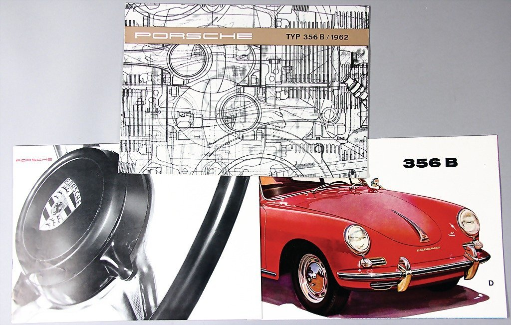 PORSCHE, mixed lot of 3 sales brochures, type 356 B, 1x