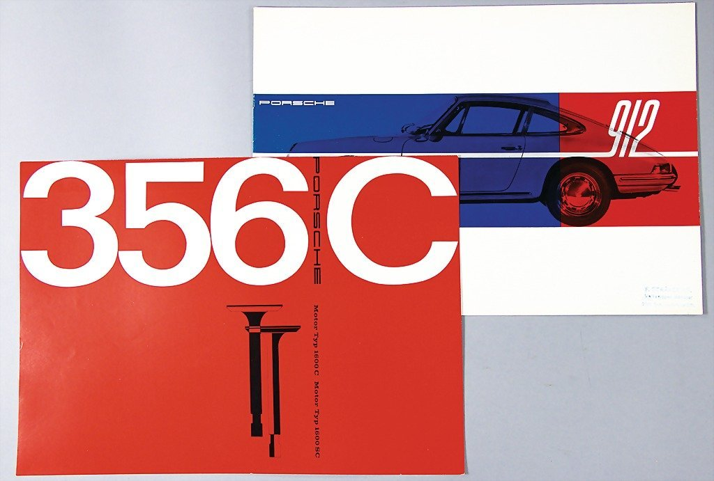 PORSCHE, mixed lot of 2 pieces, 1x 1965, brochure, Pors