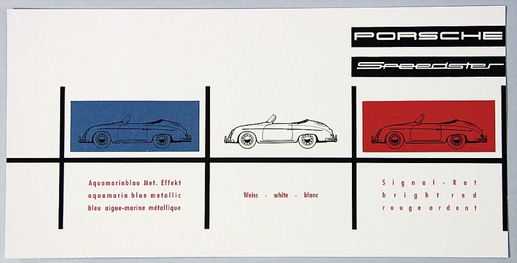 PORSCHE, color chart, Speedster, rare   German Descript