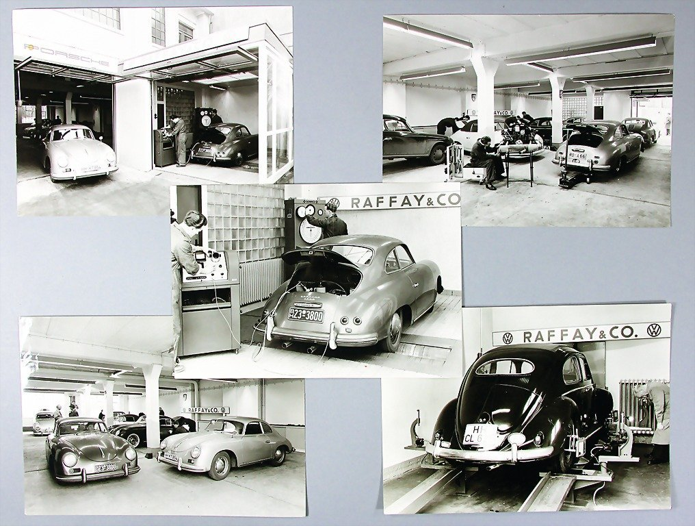 PORSCHE/ RAFFAY, mixed lot of 6 large-format B/W photos
