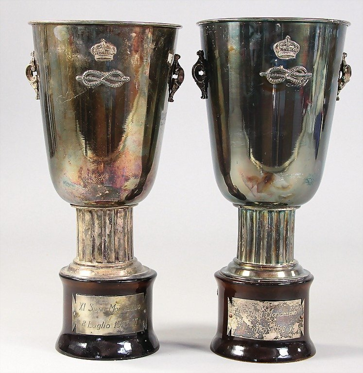 GIUSEPPE CAMPARI, mixed lot of 2 winner's cups XI Susa