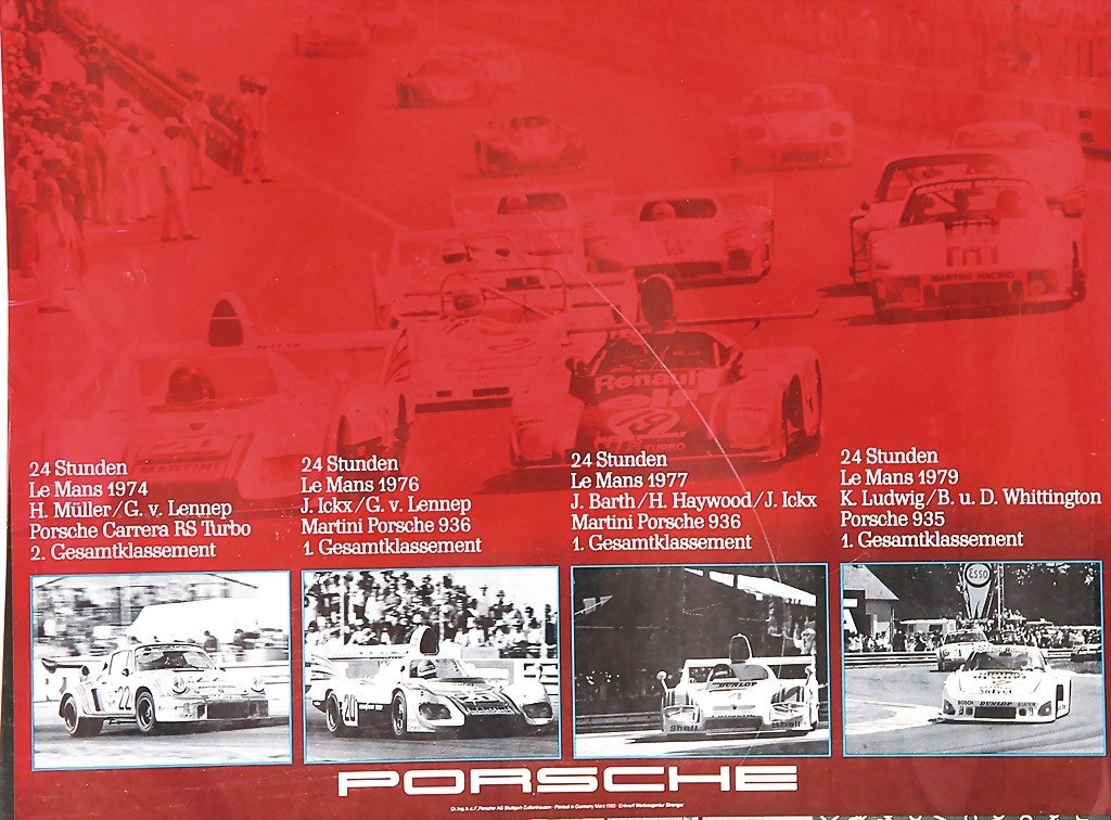 PORSCHE, mixed lot of 5 racing posters, 1x record in Da
