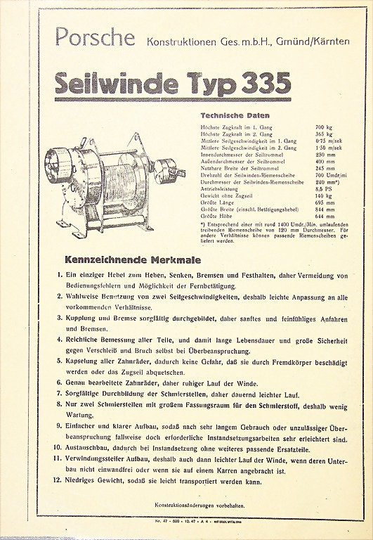 PORSCHE, early flyer cable winch type 335, print number