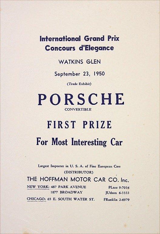 """PORSCHE, flyer """"First Prize Porsche Convertible"""