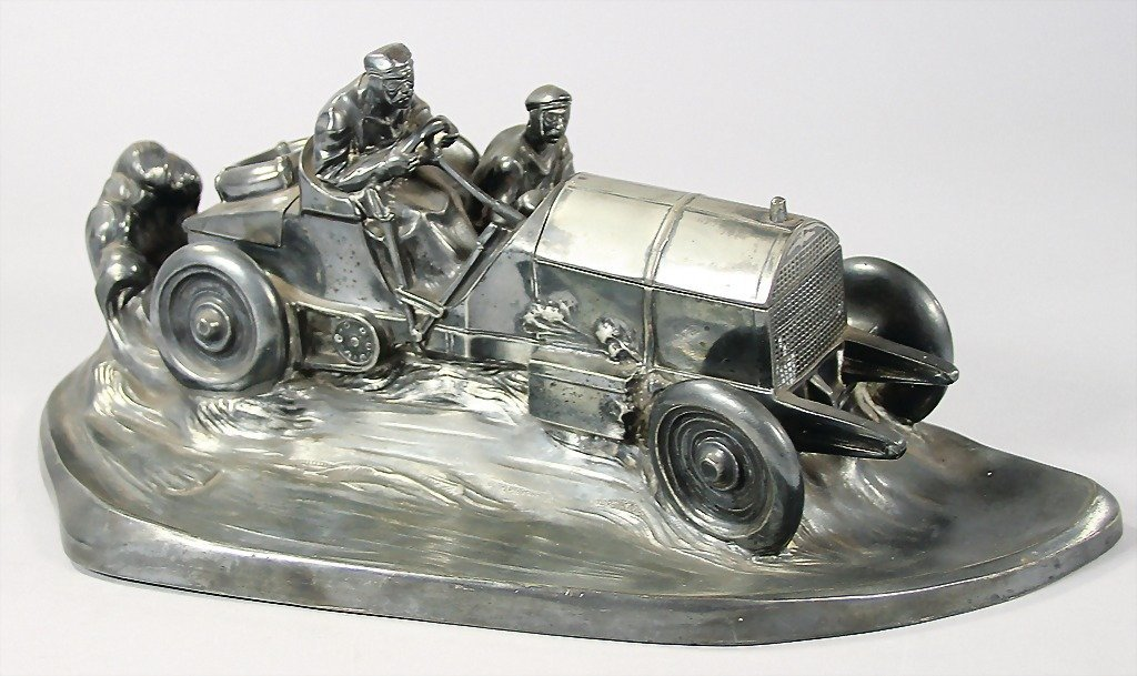 WMF, writing desk set, racing car, c. 1908, with chain