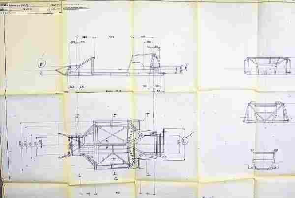 FERRARI, original blueprint Dino 246 GT, frame